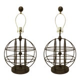 Image of Currey & Company Modern Aged Bronze Finished Iron Sphere Table Lamps Pair For Sale