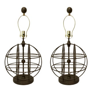 Currey & Company Modern Aged Bronze Finished Iron Sphere Table Lamps Pair For Sale