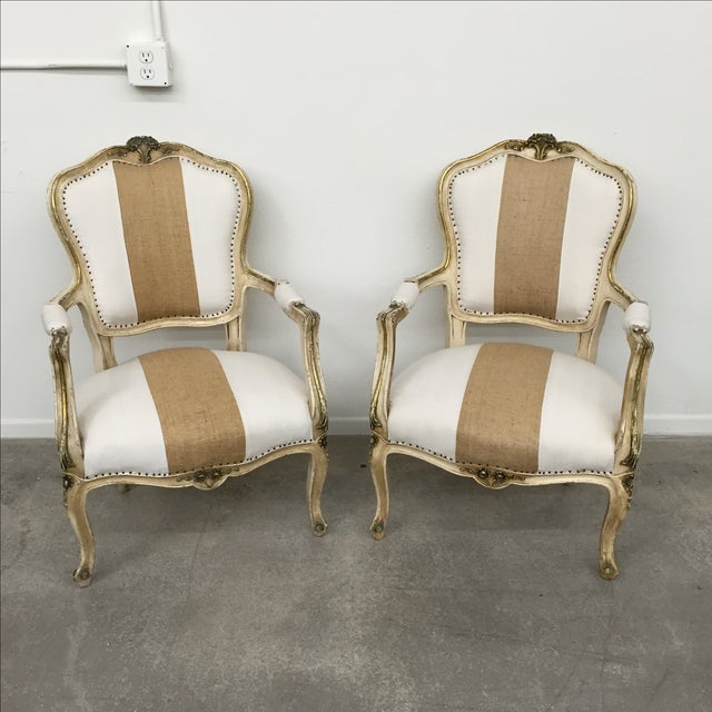 Vintage Louis XV Style Armchairs - Pair - Image 2 of 11