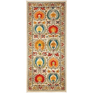 """Suzani, Hand Knotted Runner - 3'3"""" X 7'5"""" For Sale"""