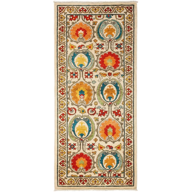 "Suzani, Hand Knotted Runner - 3'3"" X 7'5"" For Sale"