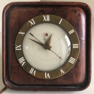 Mid Century Telechron Electric Leather Table Clock Preview