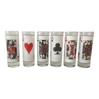 Vintage Card Motif Shot Glasses - Set of 6