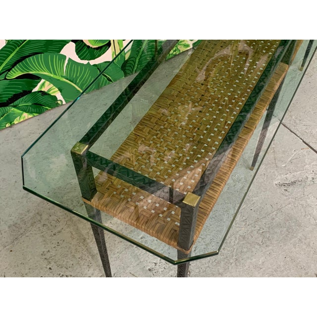 Steel and Rattan Console Table For Sale In Jacksonville, FL - Image 6 of 11
