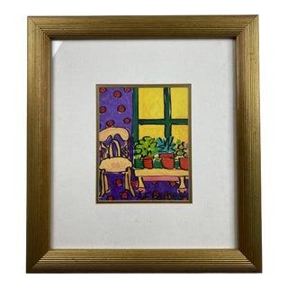 Contemporary Interior Still Life Serigraph, Framed For Sale
