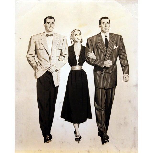 Art Deco 1950's Men & Woman Illustration Glicee Print For Sale - Image 3 of 3
