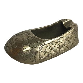 Vintage Etched Brass Shoe Ashtray For Sale