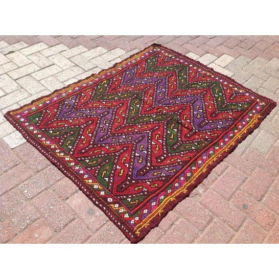 Vintage Turkish Kilim Rug - 3′3″ × 4′4″ - Image 3 of 6