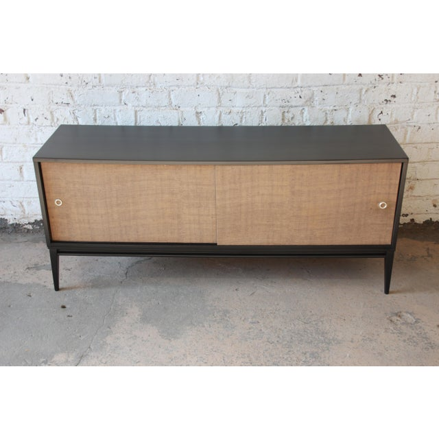 Contemporary Paul McCobb Planner Group Mid-Century Modern Ebonized Low Credenza For Sale - Image 3 of 11