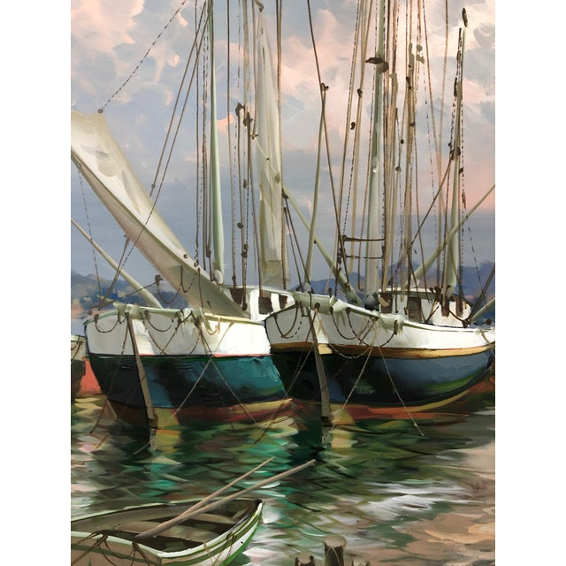 Modern Modern Big Bold Canvas Painting of Harbor Sailboats For Sale - Image 3 of 10