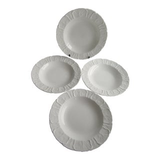Coalport Countryware English Bone China Rimmed Soup Bowls, White, Cabbage Leaf - Set of 4 For Sale