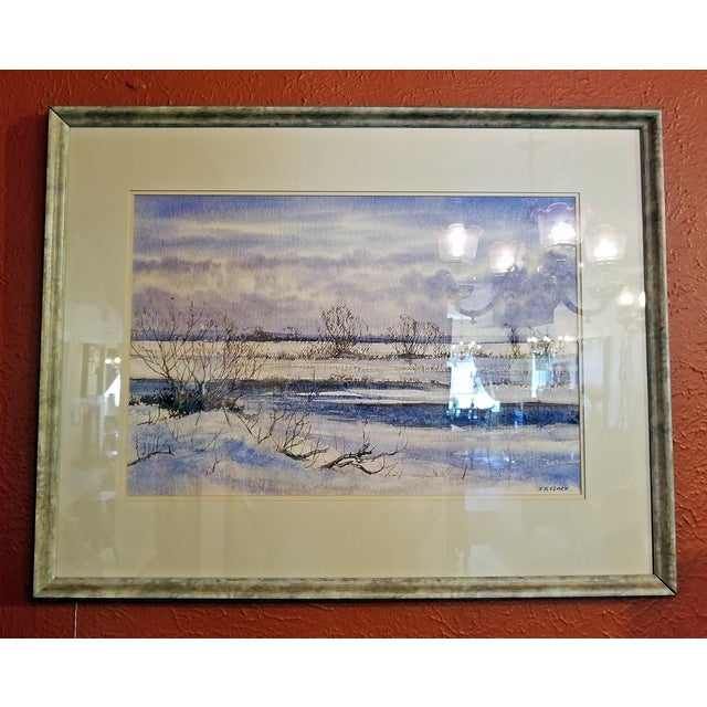 """Early 21st Century Early 21st Century Vintage Irish """"Winter Scene"""" Watercolor by Rev Jh Flack For Sale - Image 5 of 9"""