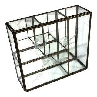 1960s Art Nouveau Brass Glass Mirror Trinket Display Case For Sale