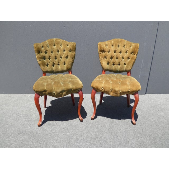 French Provincial Tufted Velvet Chairs - Pair - Image 6 of 11