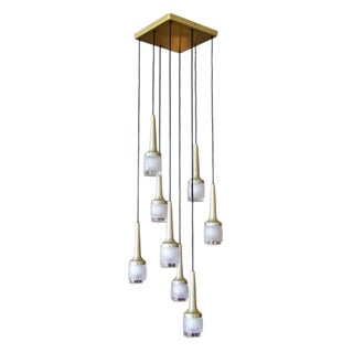 Eight Hanging Light Brass Chandelier by Staff of Germany For Sale