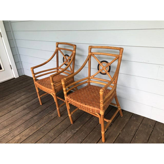 2000 - 2009 McGuire Rattan Rawhide Target Chairs- Set of 6 For Sale - Image 5 of 13