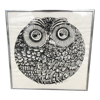 1970s Vintage Framed Owl Print by Larry Mikec For Sale