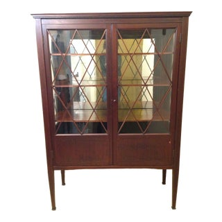Antique Mahogany China Cabinet Circa 1910 For Sale