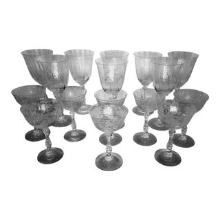 Fostoria Meadow Rose Crystal Goblets and Glasses With Etched Scrolls and Swags - Set of 16 For Sale
