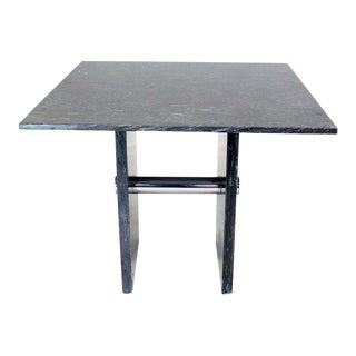 Black Square Marble Top Small Conference Dining Game Cafe Table For Sale