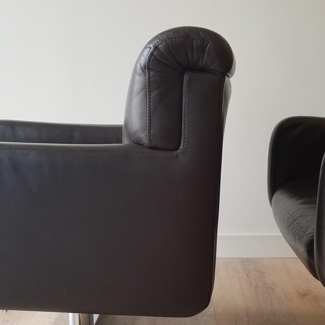 Chocolate 1980s Leather Swivel Reclining Chairs - a Pair For Sale - Image 8 of 12