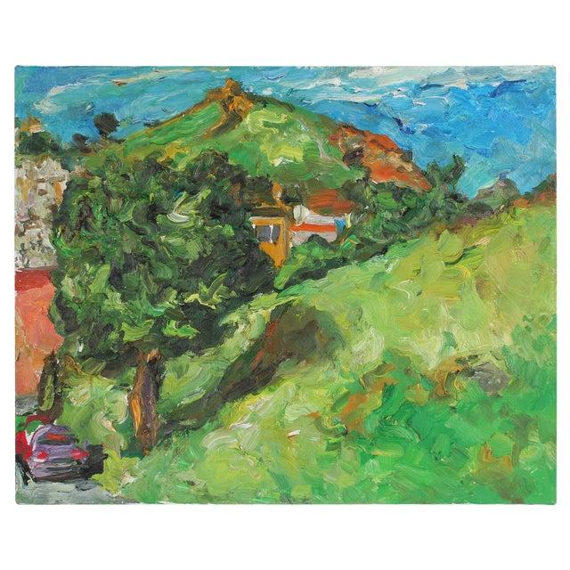 """Yukon St."" San Francisco Hillside Landscape, Oil Painting, 2001 For Sale"