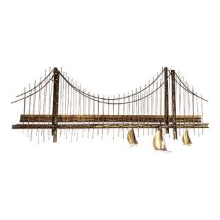 "Late 20th Century Vintage Golden Gate ""Bridge"" Brutalist Wall Sculpture For Sale"
