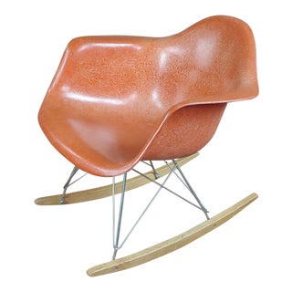 Herman Miller Vintage Fiberglass Rocking Chair -Red For Sale