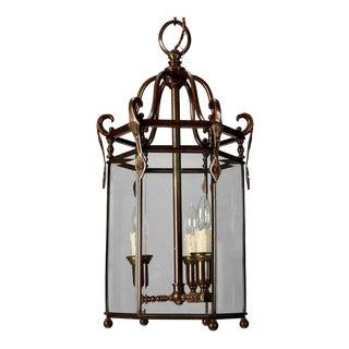 Tall 19th Century Dutch Hexagonal Bronze and Glass Hall Lantern For Sale