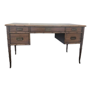 Campaign Drexel Faux Bamboo Writing Desk For Sale