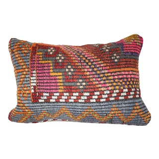 Vintage Striped Turkish Lumbar Pillow Cover, Farmhouse Decor 14'' X 20'' (35 X 50 Cm) For Sale
