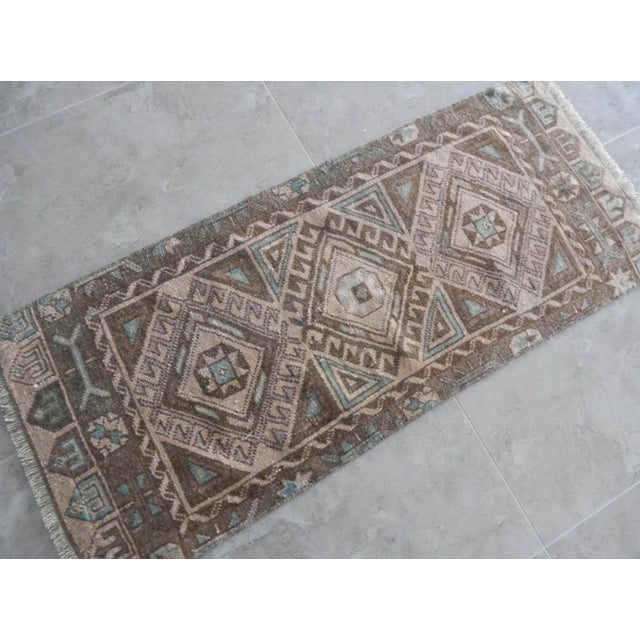 Low Pile Distressed Small Rug Hand Knotted Oushak Rug For Sale - Image 4 of 8