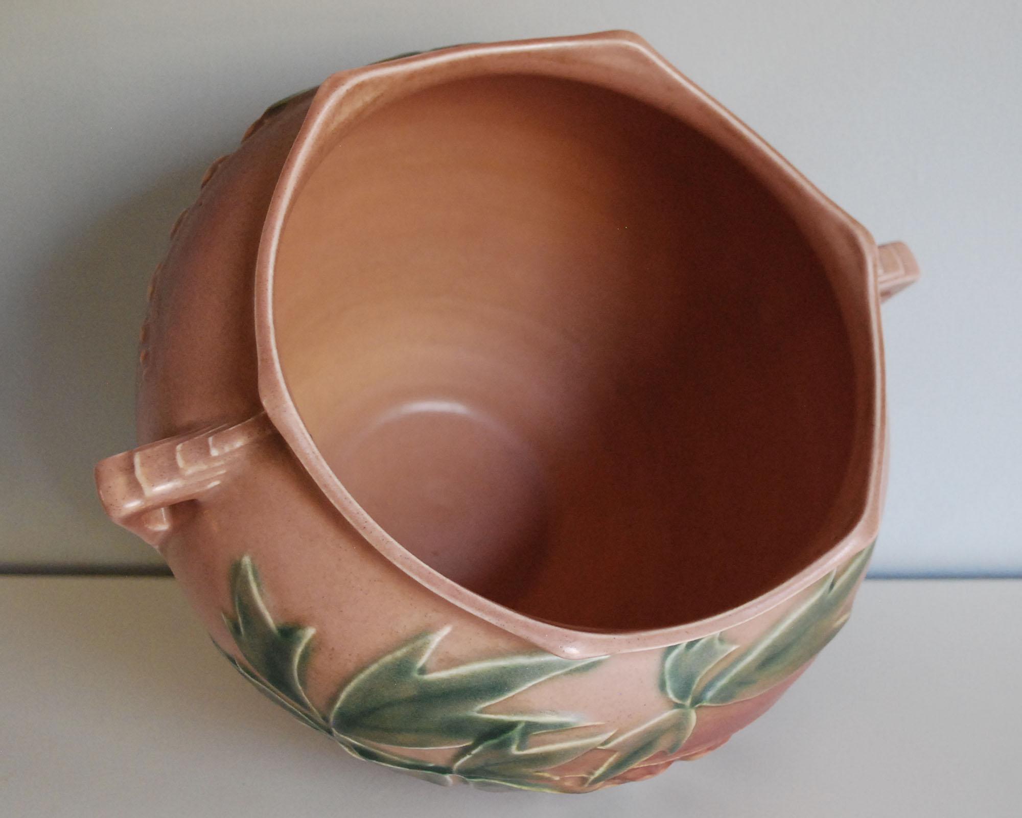 Vintage Pink Art Deco Planter or Vase Roseville Bleeding Heart Jardeniere 1930s Ceramic Pottery Planter 651-7