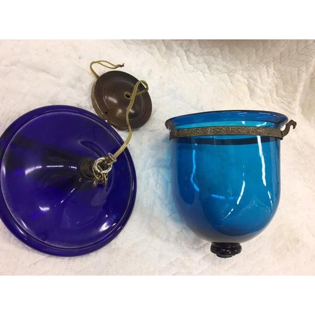 Boho Chic Blue Bell Jar Pendant For Sale - Image 3 of 7