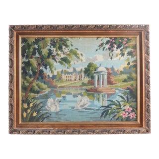 Vintage Needlepoint of Swans Framed For Sale