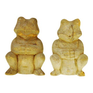 Vintage Rustic Hand Carved Wooden Frogs - A Pair For Sale