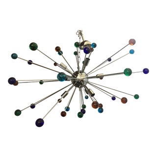 Murano Glass Triedo Sputnik Multicolor Chandelier For Sale