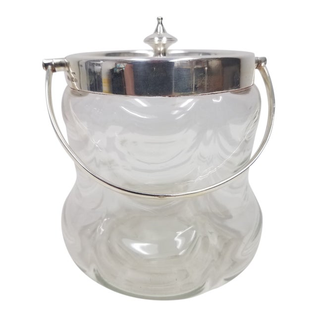 Antique English Crystal Glass Silverplate Biscuit Jar For Sale