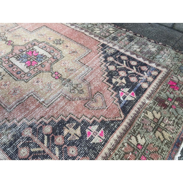 1960s Vintage Faded Turkish Tribal Rug- 4′2″ × 8′3″ For Sale - Image 6 of 11