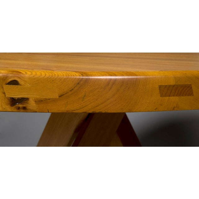 1960s Pierre Chapo Elm Dinig Table and 3 Benches For Sale - Image 5 of 10