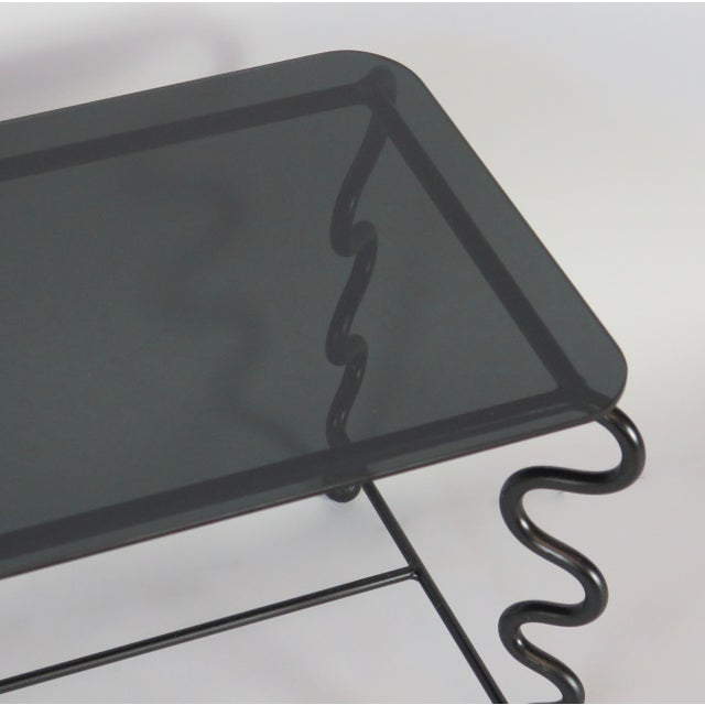 'Serpentine' Coffee Table With Black Glass Top For Sale - Image 10 of 13