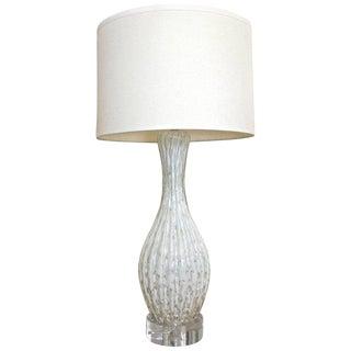 1960s Italian White Murano Glass Aventurine Table Lamp