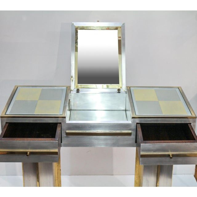 Metal Modern Steel Vanity Table and Stool In Style Of Maison Jansen - a Pair For Sale - Image 7 of 13