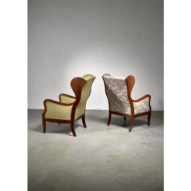 Mid-Century Modern Frits Henningsen Pair Wingback Lounge Chairs, Denmark, 1940s For Sale - Image 3 of 6