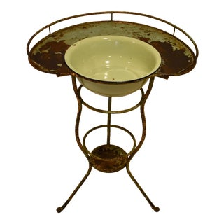 Wrought Iron Washstand With Enameled Copper Bowl For Sale