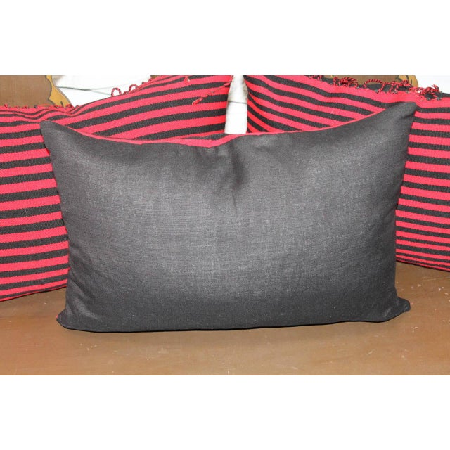 Modern Group of Three Striped Navajo Indian Weaving Bolster Pillows For Sale - Image 3 of 5