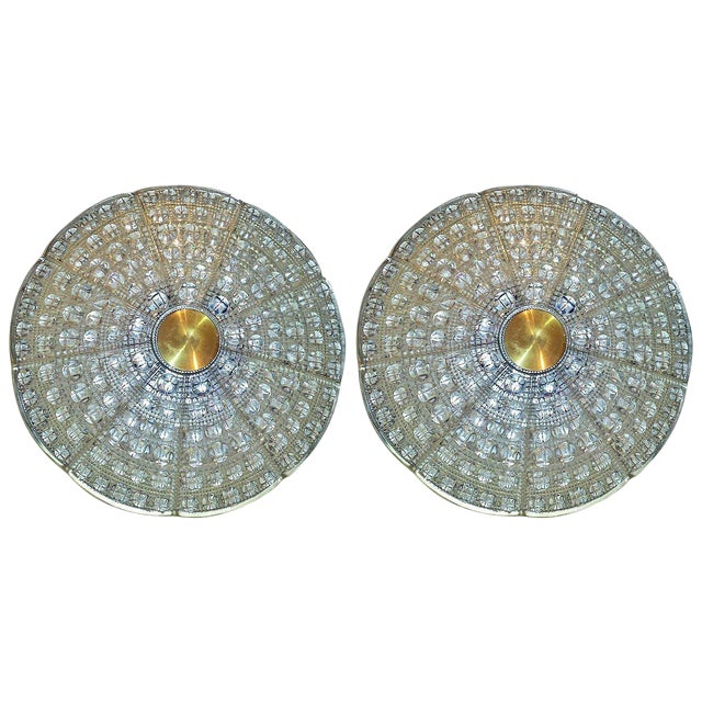 Pair of Orrefors Flush Mounted Fixture by Carl Fagerlund For Sale
