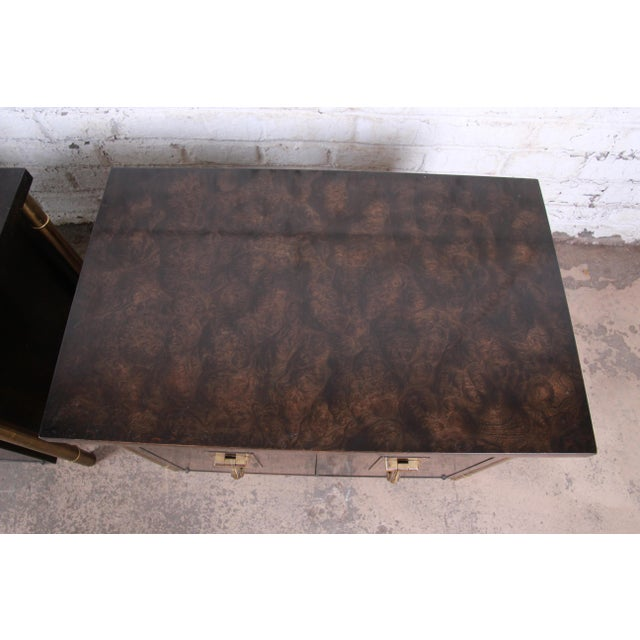 Metal Bernhard Rohne for Mastercraft Hollywood Regency Faux Bamboo Brass and Burl Bedside Chests - a Pair For Sale - Image 7 of 12