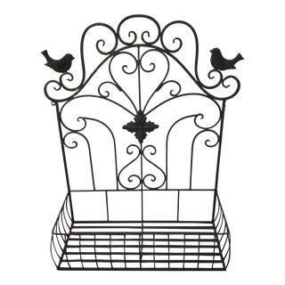 Vintage Wrought Iron Window Box Planter With Bird & Scroll Design For Sale