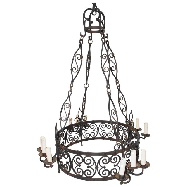 French 1930s Wrought Iron Chandelier For Sale